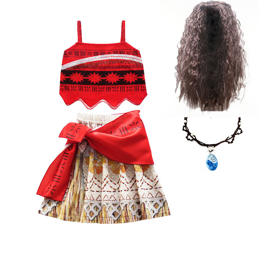 Kids Dresses For Girls Moana Vaiana Clothing Girls christmas party princess Adventure Outfit Cosplay Costume with Wig Necklace