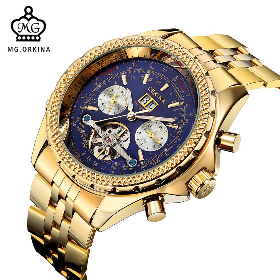 2017 ORKINA Men Mechanical Watches Gold Stainless Steel Automatic Self Wind Watches For Men Tourbillon Watches Relogio Masculino tourbillon men top luxury brand rose gold watches automatic mechanical watch stainless steel waterproof orkina relogio masculino