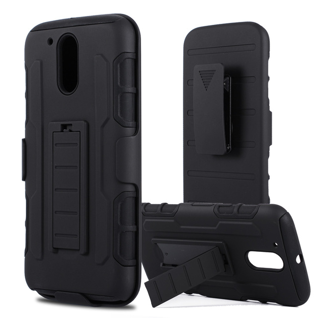 LANCASE Armor Case For Motorola Moto G4 Case Full Rugged Stand+Belt Clip Cover For Moto G4 Plus Case Silicone For Moto G4 Play