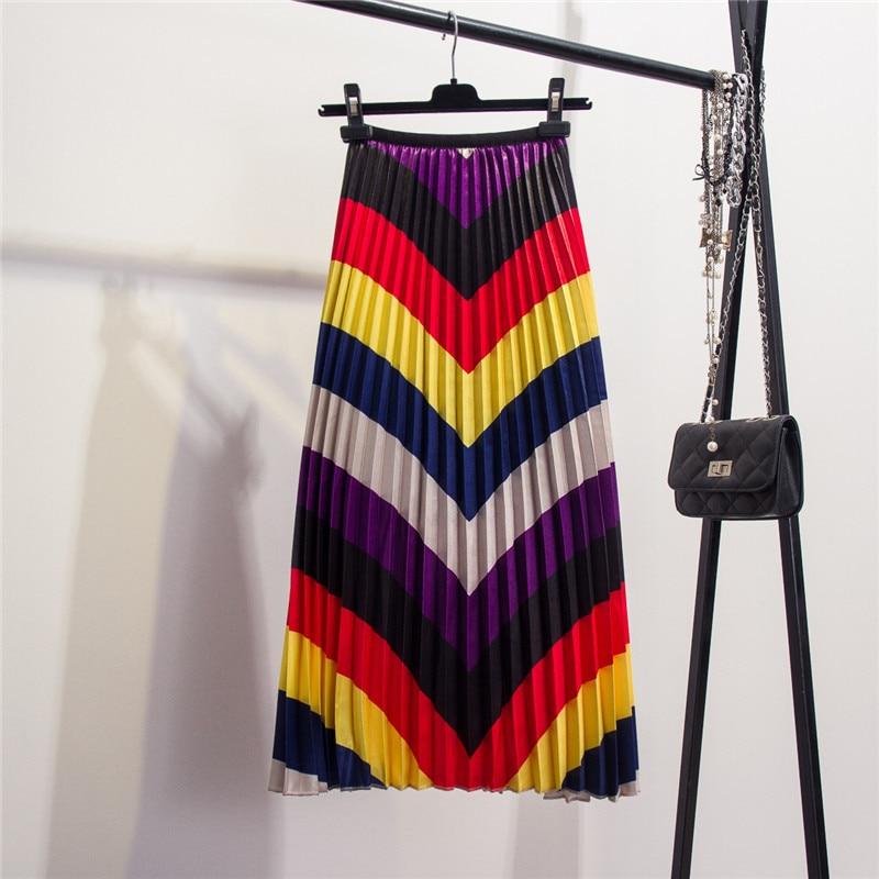 Women's Skirts Colorful Stripped Pleated Skirt 2019 Spring Summer Big Swing Skirts Elastic High Waist tutu mujer Midi skirt