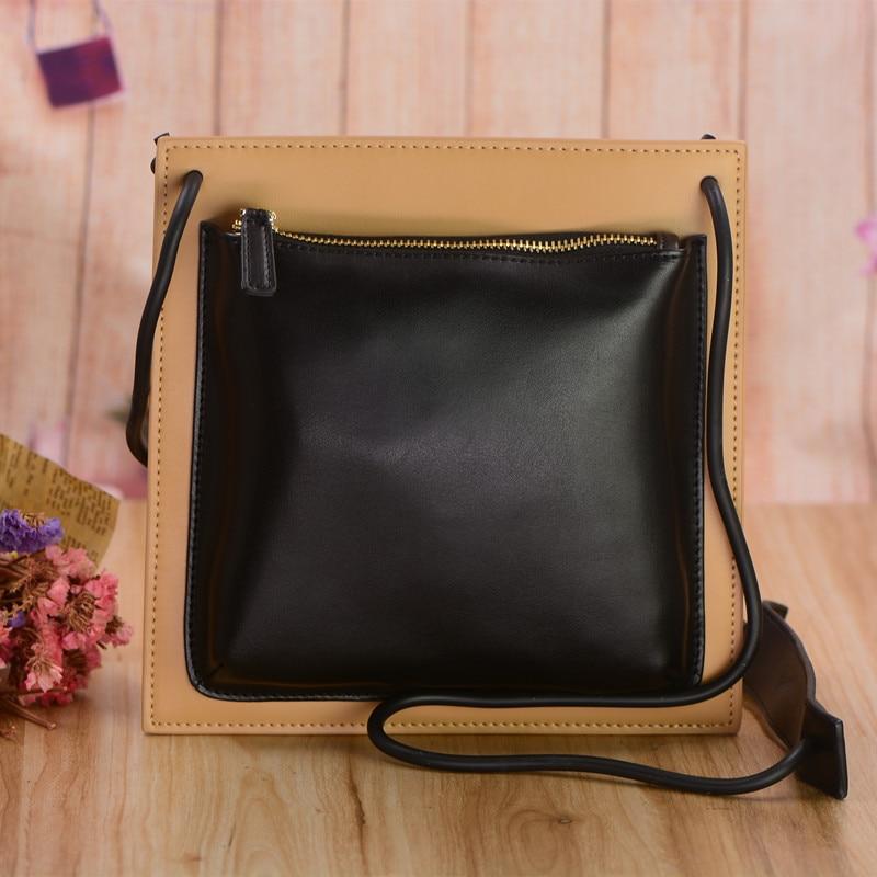Moda Bolsos de cuero negro pequeño para las mujeres Messenger Bag - Bolsos