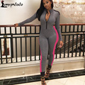 2017 Autumn Hollow Out Gray Jumpsuit Sexy V-neck Long Sleeve Tracksuit Zipper Bodysuit Rompers Womens Fashion Bodycon Jumpsuits