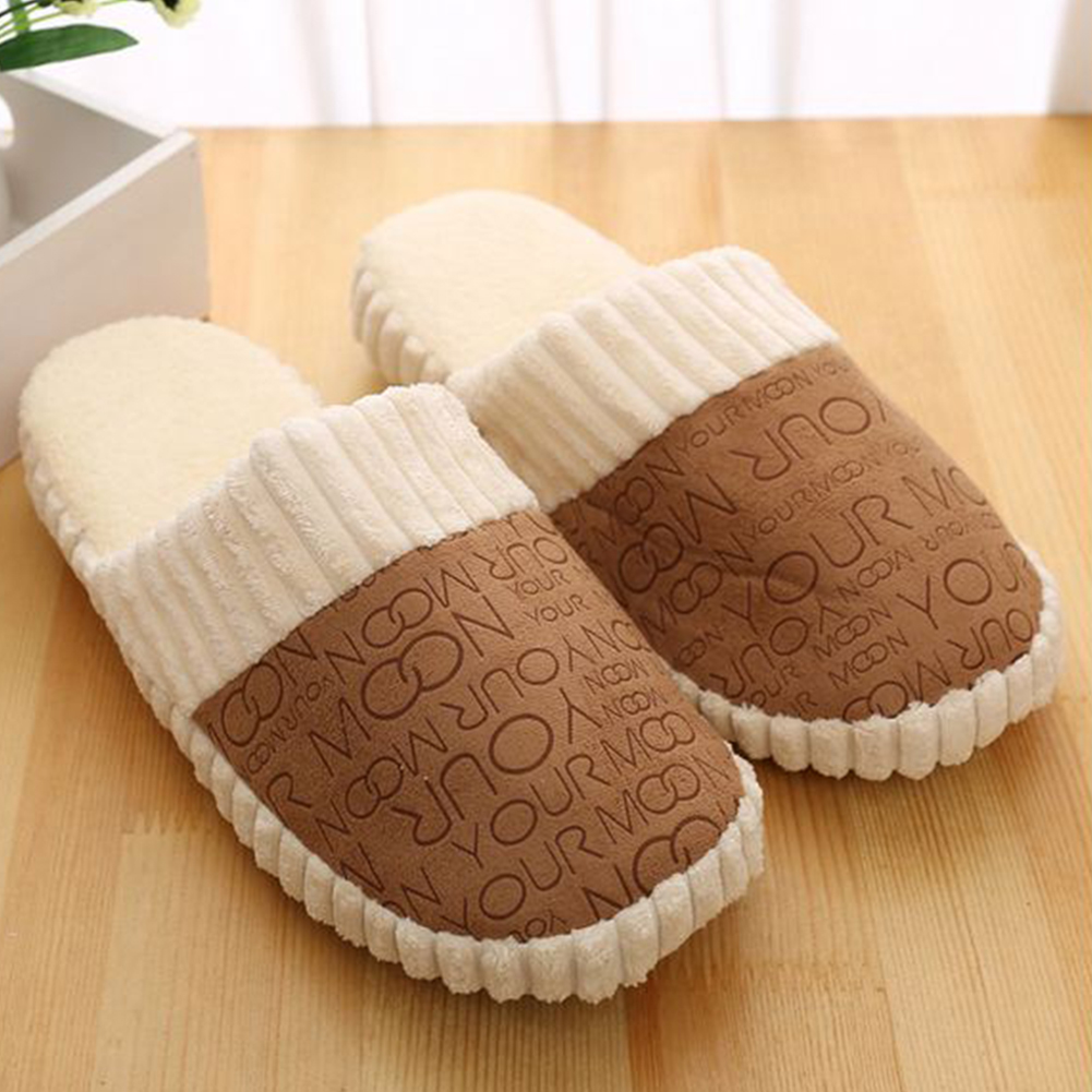 Autumn Winter Unisex Warm Letters Slippers Splicing Soft Anti-Slip suede bottom couple cotton slippers femaleAutumn Winter Unisex Warm Letters Slippers Splicing Soft Anti-Slip suede bottom couple cotton slippers female