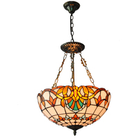 Baroque Tiffany Style Inverted Pendant Light Fixture Tiffanylampe Retro Stained Glass Shade Lamp Bar Cafe Restaurant
