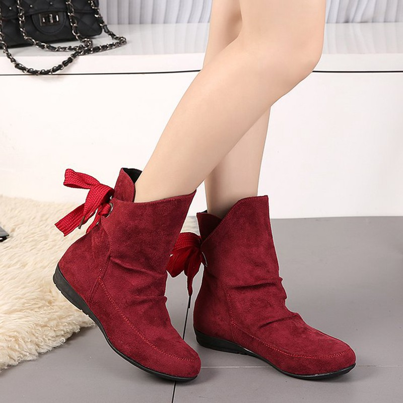 COOTELILI Plus Size Ankle Boots For Women Shoes Lace-Up Ladies Shoes Fashion Rubber Boots Women Winter Shoes Red Black 41 42 43  (10)