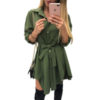 2018 Women Spring Irregular Tie Waist Shirt Wrap Dress Long Sleeve Turn Down Collar Army Green