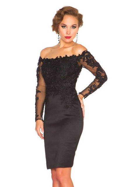 2019 Short Sheath Little Black Homecoming Dresses With Long Sleeves Lace Appliques Off  Shoulder Women Short Prom Party Dresses