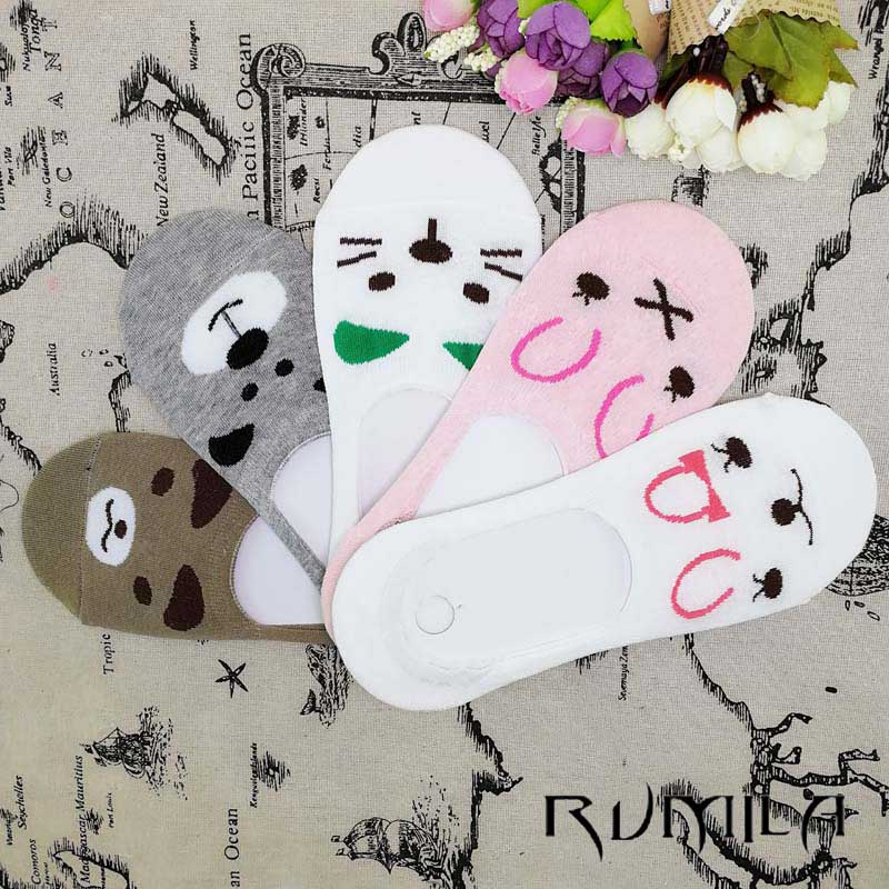 CAT Summer Comfortable Cotton Bamboo Fiber Girl Women's Socks Ankle Low Female Invisible  Color Girl Boy Hosier 1pair=2pcs WS67
