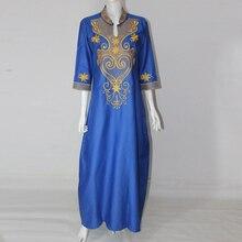 Vestidos africanos Nuevo vestido bordado de la vendimia africana de una pieza vestido maxi largo más el tamaño