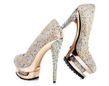 2018 Fashion Ladies High Heel Party Shoes Platform Wedding Shoes Rhinestone Bridal wedding shoes Beautiful dress shoes women