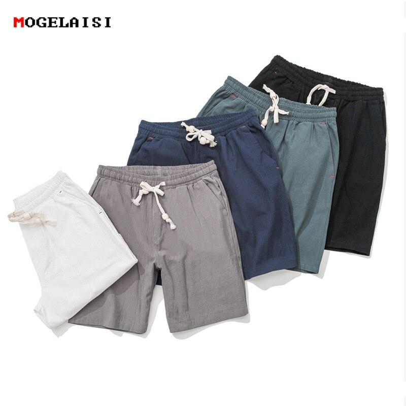 Summer casual Shorts Mens Linen Cotton solid loose man Drawstring soft Comfortable Flax shorts bermuda plus size 5XL K66
