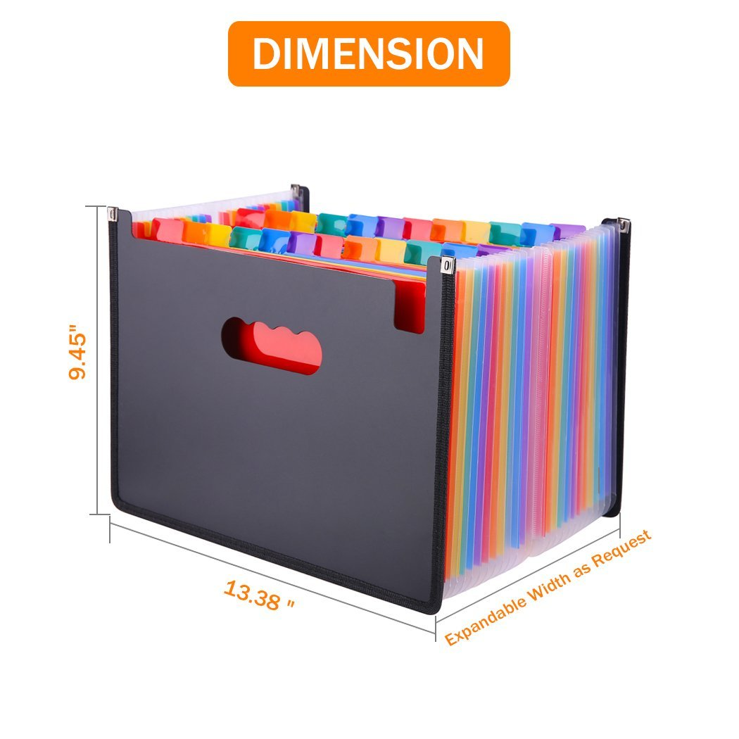 13/24/37/48 Pockets Expanding File Folder A4 Organizer Portable Business File Office Supplies Document Holder Carpeta Archivador 2