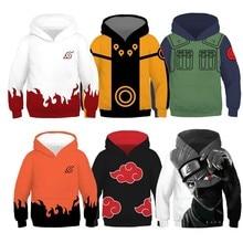 Kids Naruto Uchiha Sasuke Akatsuki Anime Hoodie Sweatshirt Jacket Coats Cosplay Costumes