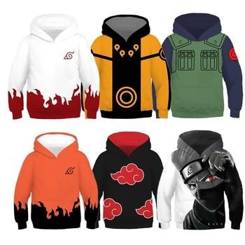 Kids Naruto Uzumaki Naruto Uchiha Sasuke Akatsuki Anime Costume Hoodie Cosplay Sweatshirt Jacket Coats