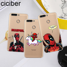 ciciber For Honor V 10 9 8 Pro Lite X C Play 7A Soft TPU Deadpool Marvel Phone Cases For Y 9 7 6 5 3 Prime Pro 2017 2018 2019(China)