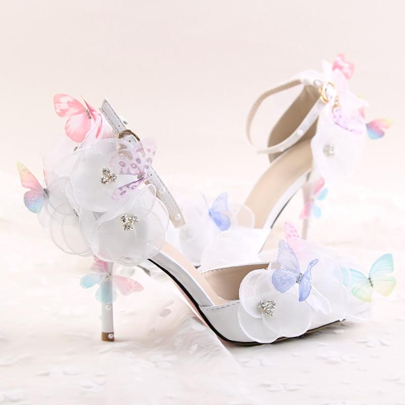 Blanc Chaussures 9 Dames Pompes Parti 9cm Cheville Heel White Sangle Gland Perle Stiletto De Talons Cm Mariée Mariage Haute Papillon Femmes Floral w0qXpr0