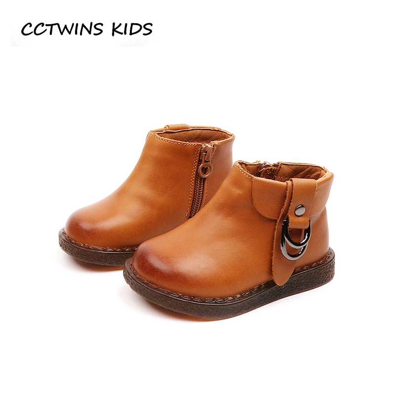 CCTWINS KIDS 2018 Winter Children Black Ankle Boot Baby Boy Genuine Leather Boot Girl Fashion Warm Shoe Toddler CF1546