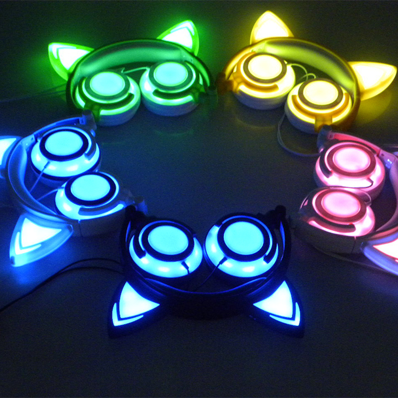 Foldable Flashing Glowing Cat Ear Headphones Gaming Headset Earphone with LED Light Luminous For PC Laptop Computer Mobile Phone teamyo glowing cat ear headphones gaming headset auriculares music earphone with led light for iphone xiaomi mobile phone pc mp3