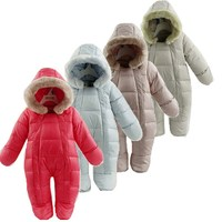 Baby Rompers Baby Thermal Duck Down Winter Snowsuit Baby Cute Hooded Jumpsuit Newborn Baby Boy Girl Winter Clothes Ski Suit