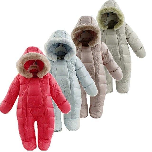 Mamelucos de bebé pato térmico abajo invierno traje de nieve bebé mono con  capucha lindo recién 1c76c65bdc26