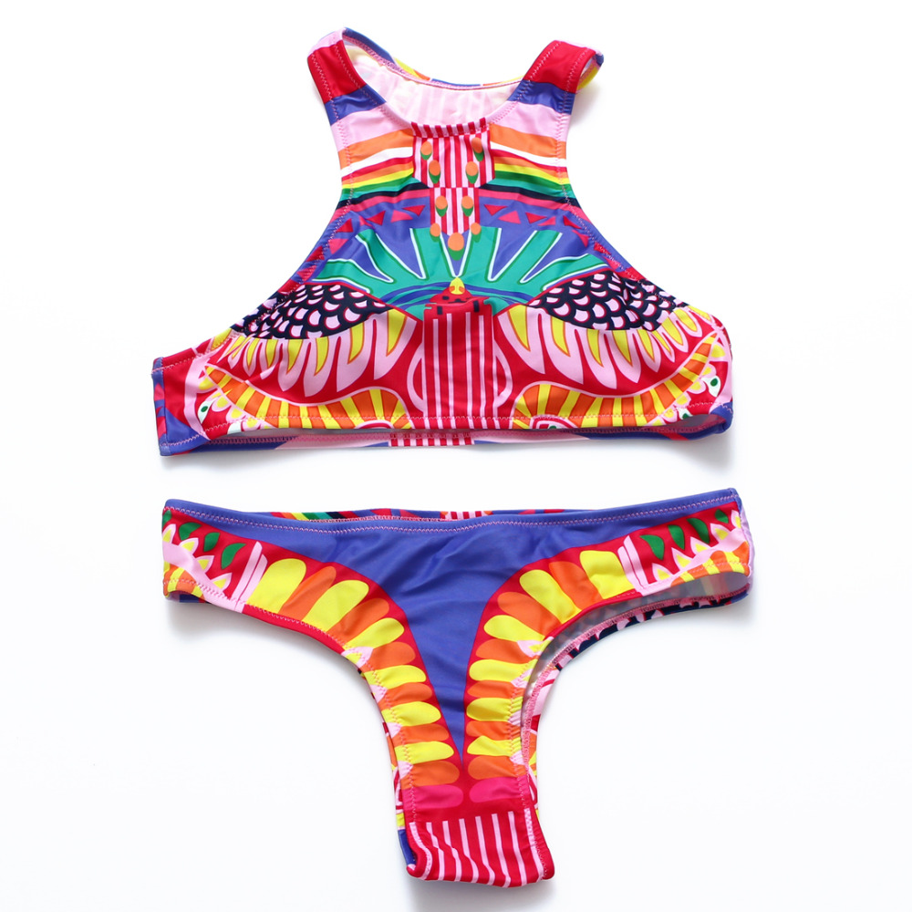 DD&MM Aztec High Neck Bikini Set Biquini Bodycon Junior Brazilian Bikini Retro Print Swimsuit Wommen Cropped Top Swimwear