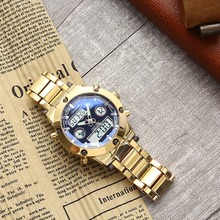 Mens Watch Golden Top Brand Luxury Quartz Business Clock High-end Best Wrist Hour Stainless Steel Strap