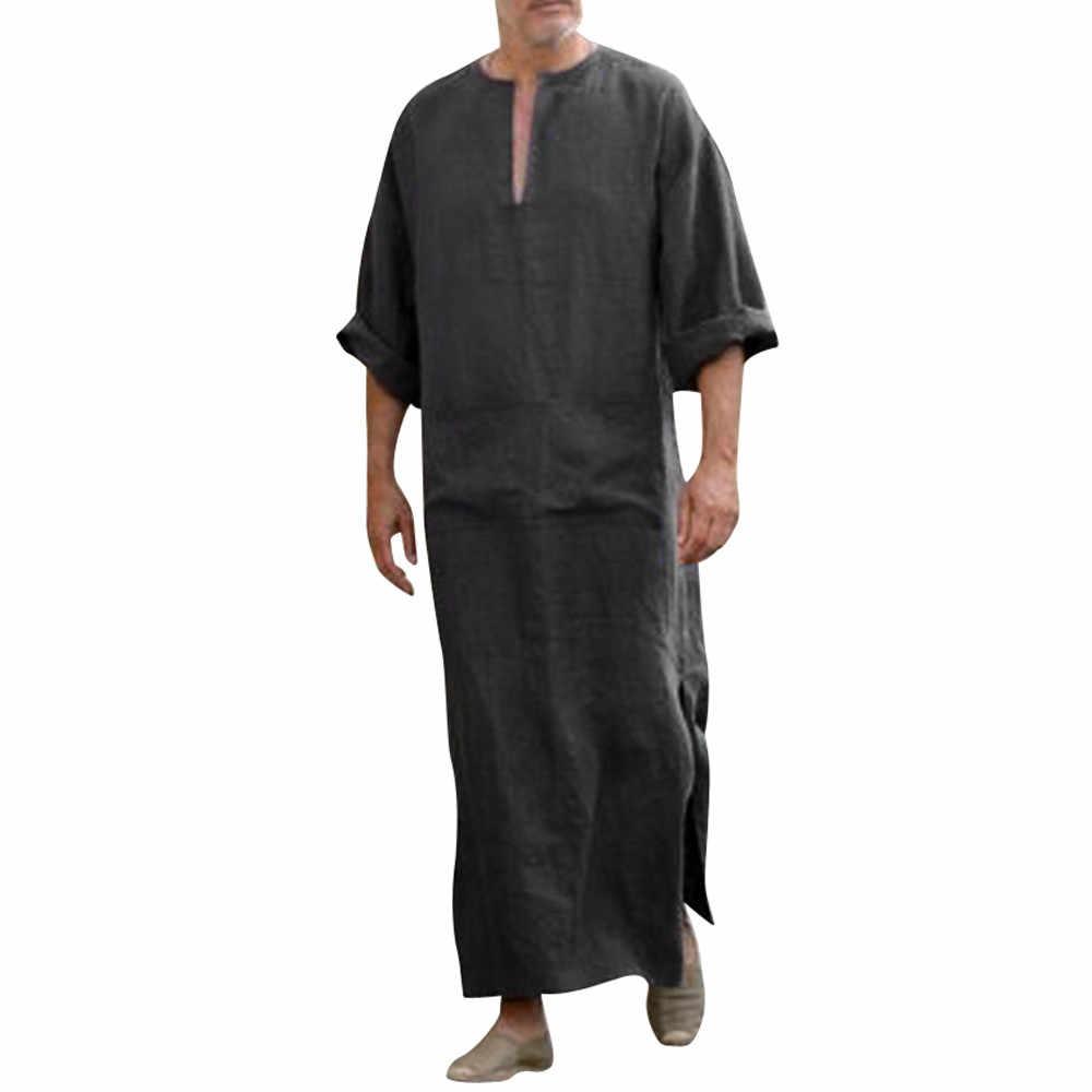 メンズ服ローブ長袖サウジアラビアアラブトーブ Jubba トーブ男カフタン中東イスラム Jubba トーブイスラム教徒ドレッシング #3