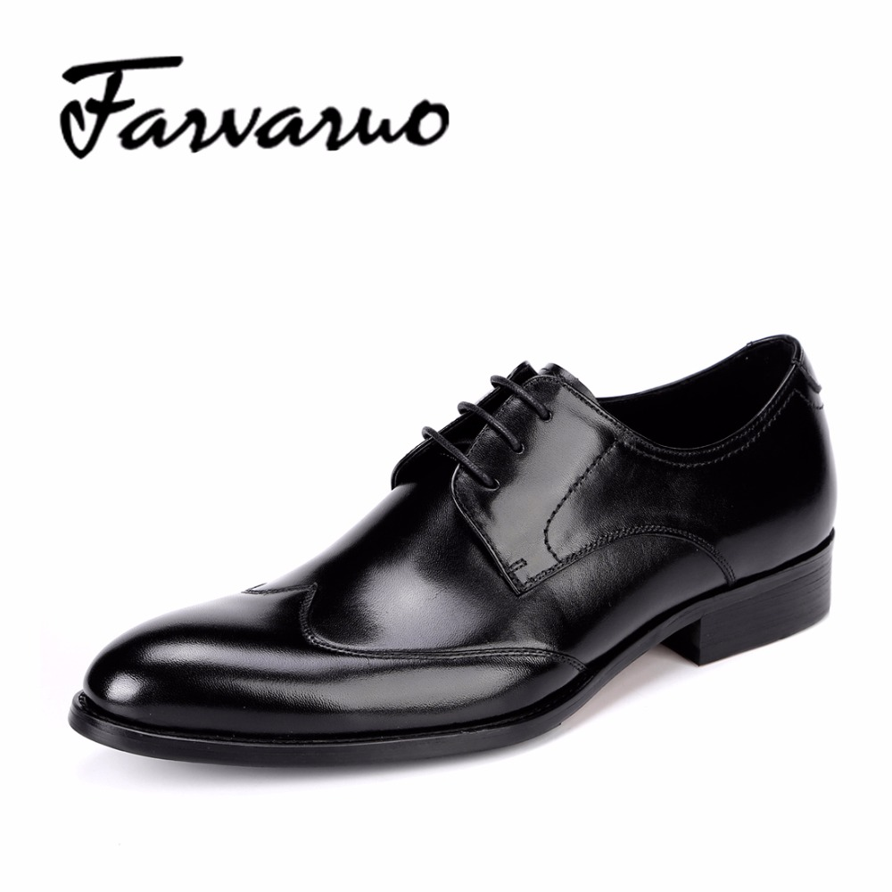 Farvarwo Mens Formal Dress Shoes Italian Genuine Leather British Oxfords Brand Flat Pointed Toe Men Classic Shoes Wedding Black 247 classic leather