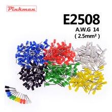20/50/100 шт E2508 труба изоляционные терминалы AWG 14 провода кабеля 2.5mm2 разъем изоляционные обжимной терминал для подключения