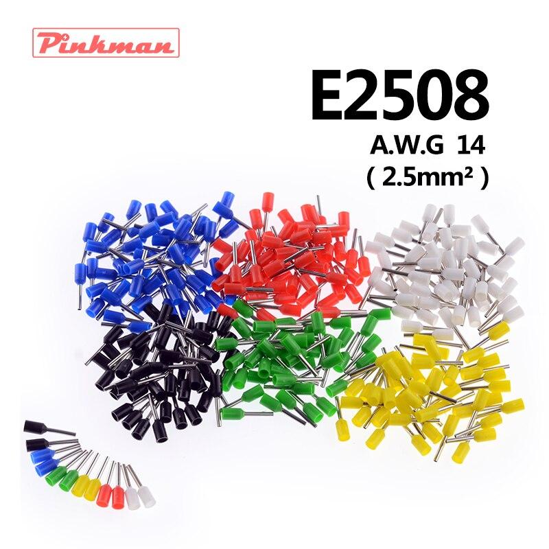 20/50/100 шт. E2508 изоляционные трубки терминалы awg 14 изоляцией Провода 2.5mm2 разъем изоляционные обжимной вывод подключите ...