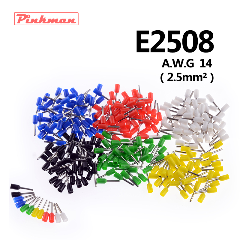 20/50/100pcs E2508 Tube insulating terminals AWG 14 Insulated Cable Wire 2.5mm2 Connector Insulating Crimp Terminal Connect ...