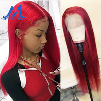 Missblue 99j Lace Front Human Hair Wigs With Baby Hair Peruvian Remy Hair Lace Frontal Wig For Black Women Burgundy Wine Color