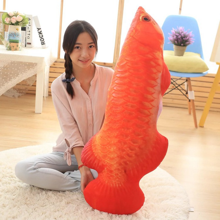 big plush red fish toy new Arowana design pillow gift about 120cm 0412 120cm creative simulation arowana plush toy pillow cushion fish doll home decoration