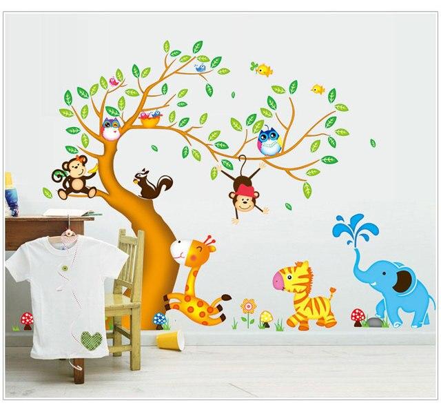 € 8.1  Chambre de bébé décor Stickers muraux pour enfants chambres  surdimensionnées Jungle animaux arbre singe hibou amovible Stickers muraux  dans ...