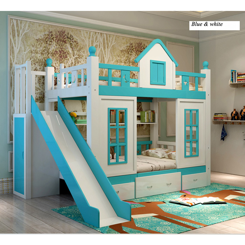 10  0128TB006 Fashionable kids bed room furnishings princess fortress with slide storages cupboard stairs double kids mattress HTB1tutWo26H8KJjy0Fjq6yXepXaR