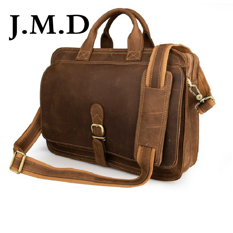 J.M.D 2017 New Arrival 100% Real Crazy Horse Leather Men's Briefcases Handbag Bag Laptop bag Hot Selling Shoulder Bag 6020 new arrival hot 100