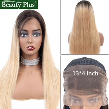 BP ombre human hair wig straight short blonde lace front wig 1b/27 Brazilian hair lace front human hair wigs 13*4 for women Remy цены онлайн