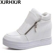 Autumn Winter High Top Casual Shoes Women Fashion Platform Black White 8cm Hidden Heels Ladies Height Increasing Comfort