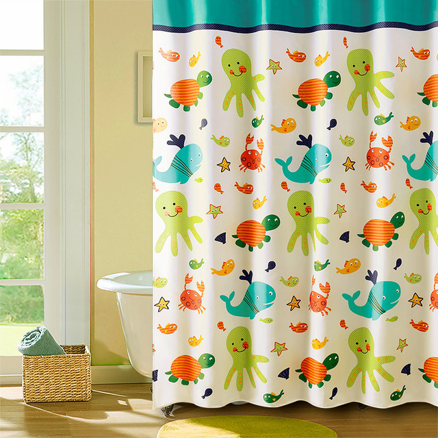 1Pcs Eco Friendly Undersea World Shower Curtain Waterproof Bathroom Thicken Mildew Proof Partition