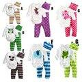 Младенческая baby boy одежда симпатичные длинным рукавом Ползунки + Hat + Брюки Комплект Одежды Новорожденного Комбинезон костюмы девочка одежда минни DY127A