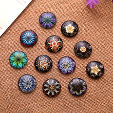 50Pcs Mixed Flower Patterns Round Glass Dome Seals Cabochons Cameos Embellishments Crafts Making 18mm