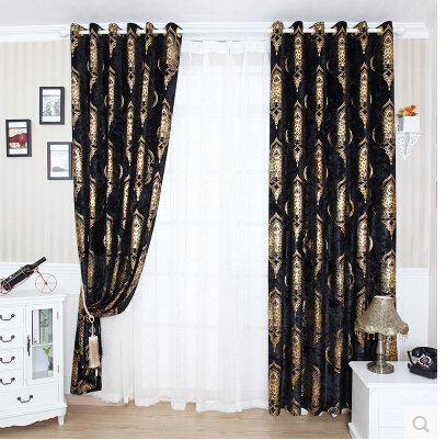 Free shipping finished product gold stamp shade curtains - Black and gold living room curtains ...
