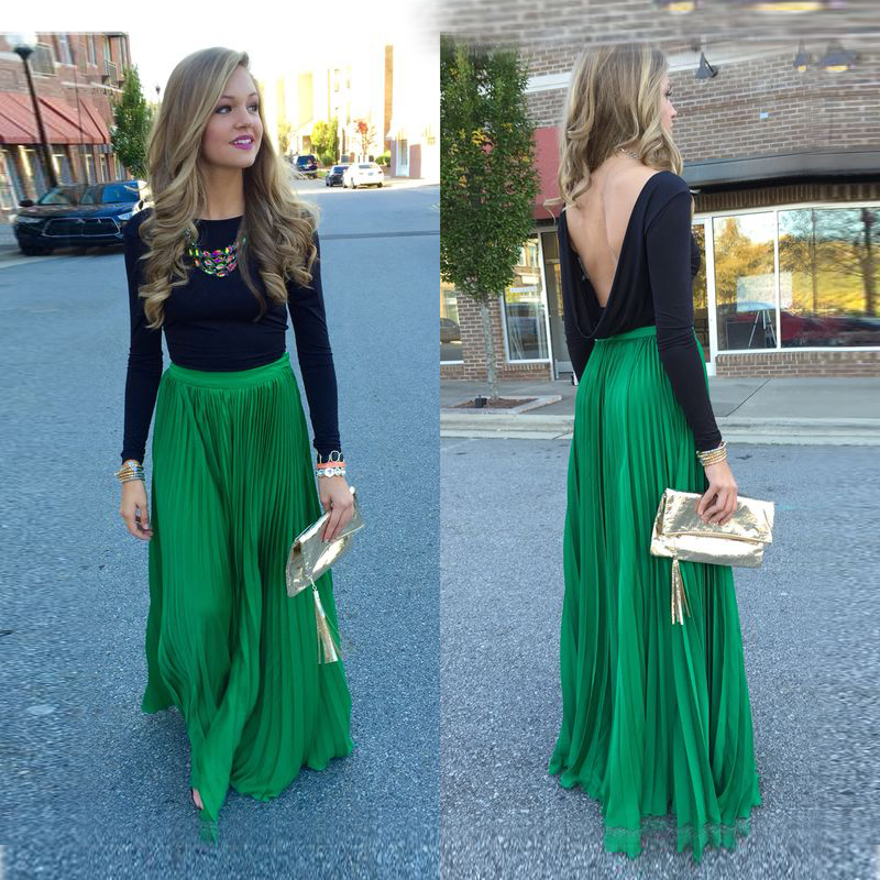 Popular Long Green Pleated Skirt-Buy Cheap Long Green Pleated ...
