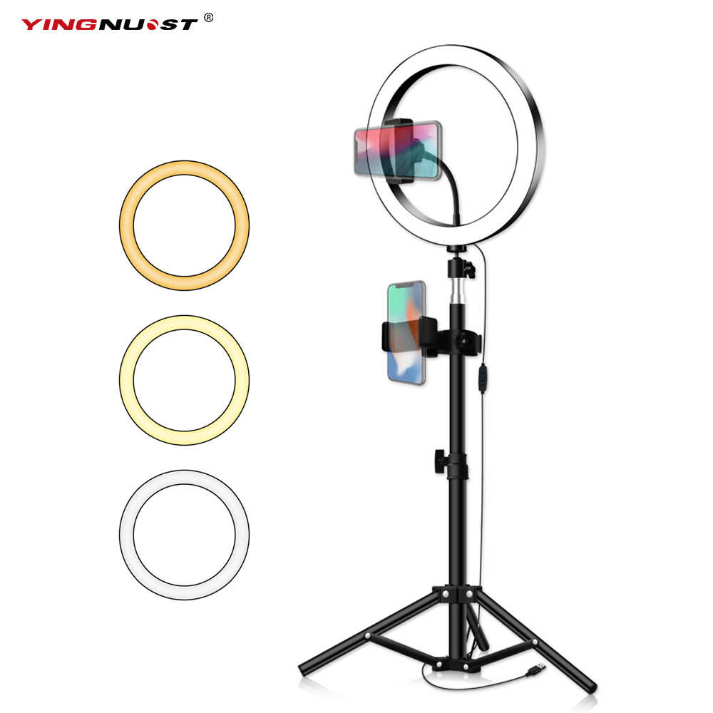 LED Ring Light 16/20/26cm 5600K Dimmable Selfie Ring Lamp Photographic Lighting With Tripod Phone Holder USB Plug Photo Studio