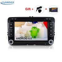 Nowy 2 Din 7 cal Quad core Android 6.0 vw Radio Samochodowe dla Polo Jetta Tiguan passat b6 cc fabia lustro link wifi indash Radio CD