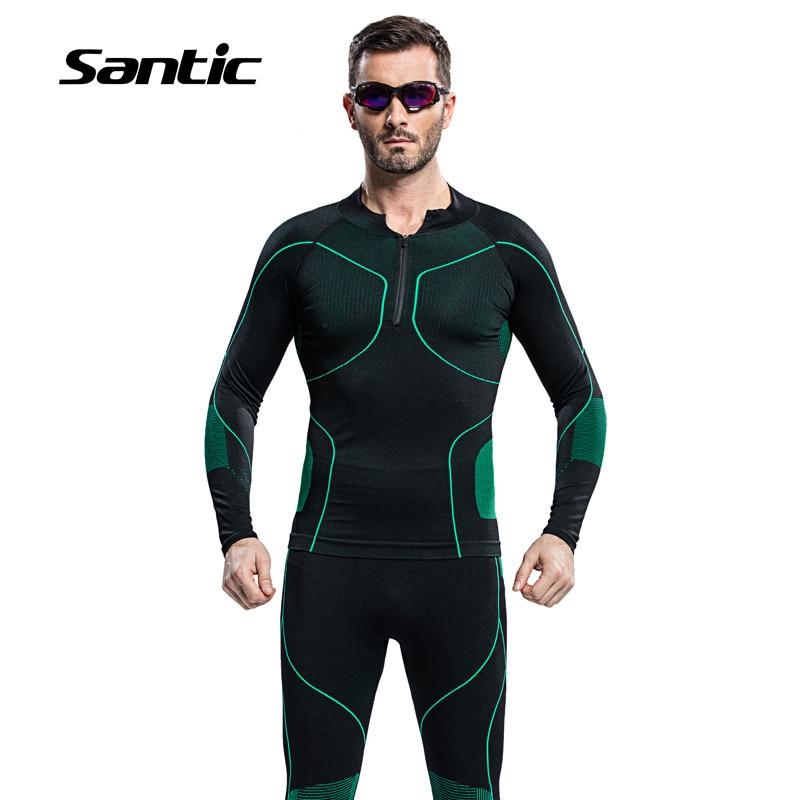 Santic мужские Велоспорт базовый слой устанавливает комплекты Зимняя Термальная Спорт MTB Дорожный велосипед Велоспорт одежда брюки Джерси зеленый нижнее белье костюмы
