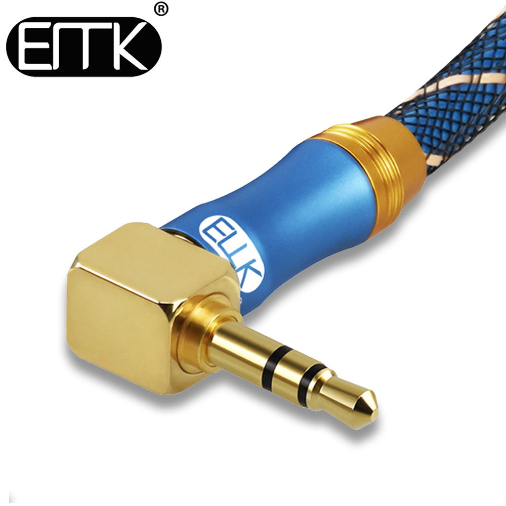Emk 3.5mm jack cabo de áudio 3.5 macho para macho cabo áudio 90 graus ângulo direito aux cabo para carro fone de ouvido mp3/4 aux
