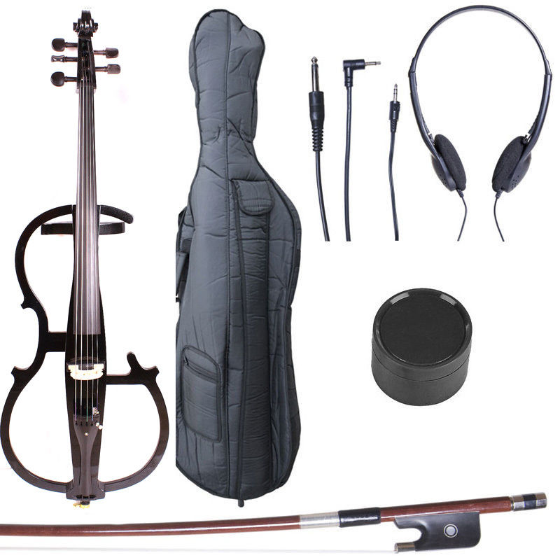 Yinfente 5 String electric Cello 4/4 Metallic Black Cello Powerful Sound Cello bow Bag #1446 4 4 electric cello 4 string silent powerful sound ebony part top grade you can choose color i can make for you