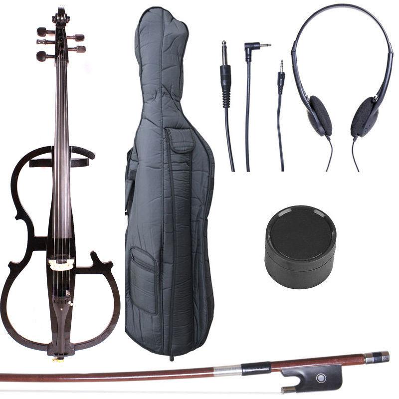 Yinfente 5 String electric Cello 4/4 Metallic Black Cello Powerful Sound Cello bow Bag #1446