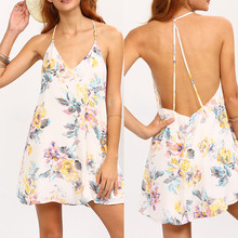 Womens Elegant Summer Ruched Draped Printed Tunic Casual Party Women Sexy Sleeveless Flower Print Strappy Swing Cami Dress C